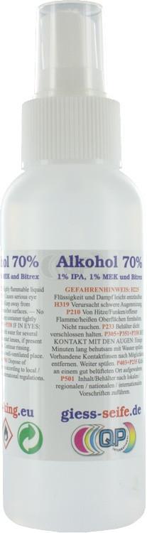 Surgical alcohol (70% 1% IPA, 1% MEK en Bitrex) 100ml including spray bottle