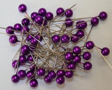 Pearl pins / pearl studs Ø 9 mm purple 50 pieces [1426]