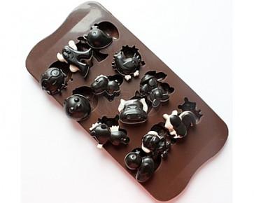 QP0060S silicone mold: spook, Chicken, Duck, squirrel, Seahorse, Dog