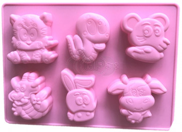QP0063S silicone mold: Dragon, Cat, Snake, Cow, Hare (cartoon)