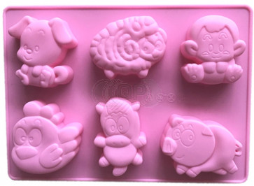 QP0089S silicone mold: Sheep, Chicken, Cow, Pig, Monkey