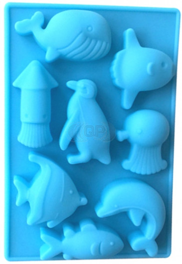 QP0096S silicone mold: Sea animals (Dolphin, Penguin, Fish, Whale)