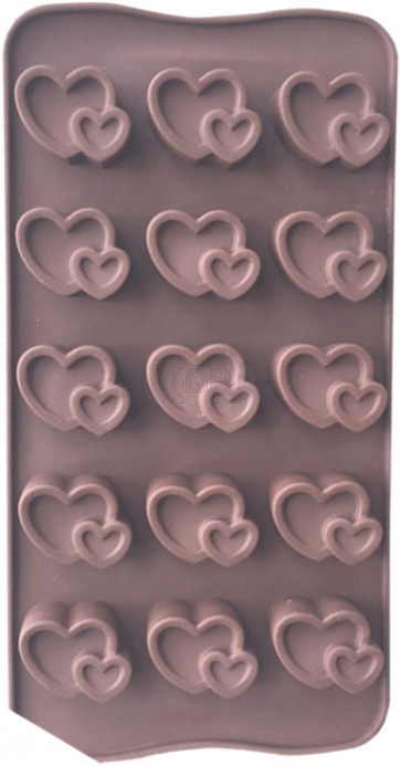 QP0097S silicone mold: Heart in heart