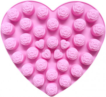 QP0107S silicone mold: Roses / Hearts with LOVE