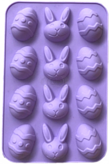 QP0127S silicone mold: Hare + egg