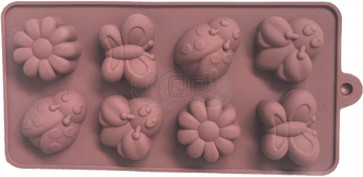 QP0136S silicone mold: Flowers / insects