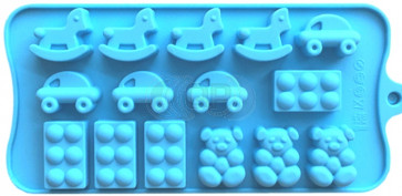 QP0150S silicone mold: Rocking horse, car, bear, cube