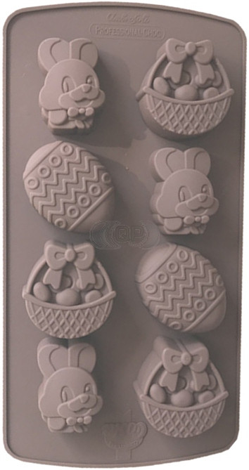 QP0153S silicone mold: Easter (egg, Hare, Basket)