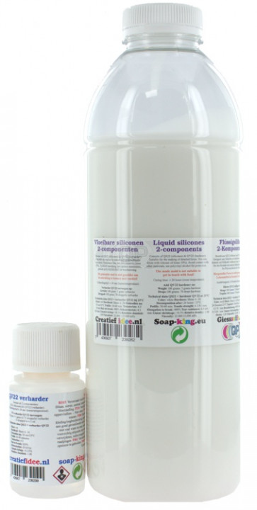 Liquid silicone rubber QS22 a component make your own molds 1 kilo + hardener