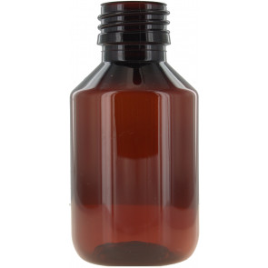 100ml brown / amber plastic bottle 28mm opening
