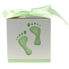 Gift box feet white / green 10 pieces (6*6*6 cm)