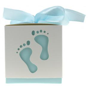 Gift box feet white / blue 10 pieces  (6*6*6 cm)