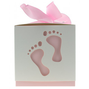 Gift box feet white / pink 10 pieces (6*6*6 cm)