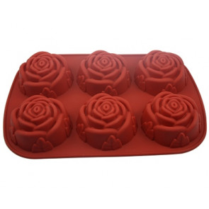 QP0005S silicone mold: 6 roses large