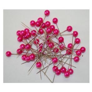 Pearl pins / pearl studs Ø 9 mm fuchsia pink 50 pieces [1423]