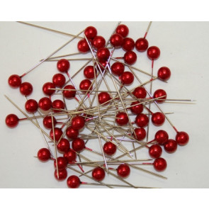 Pearl pins / pearl studs Ø 9 mm red 50 pieces [1422]