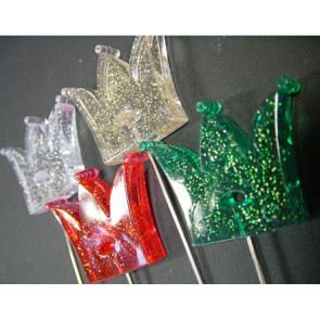 Prikker with crown + glitter. Set of 3 colors