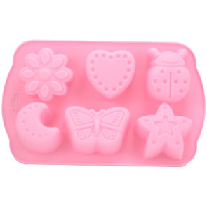 QP0012S silicone mold: flower, heart, Ladybug, Moon, Butterfly, Star