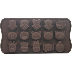 QP0013S silicone mold: Assortie Animals love (Cat, koala, Cow, Chicken, Pig etc.