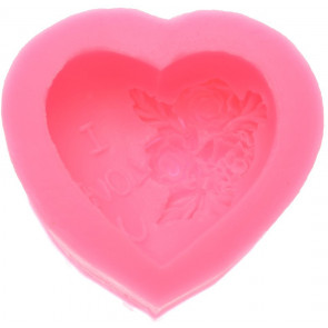 Qp0032NS silicone mold: Heart with a rose, I Love U