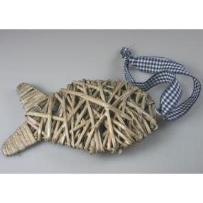Pendant wicker fish gray 18 cm + lint