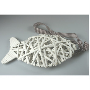 Pendant wicker fish white 18 cm + blue ribbon