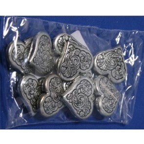 Metal-colored heart plastic 22mm ML110 ± 10 pieces