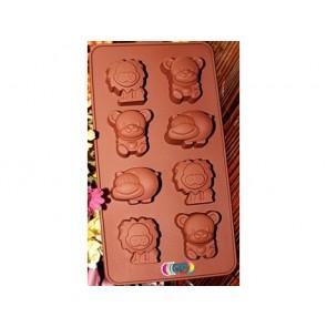 QP0037S silicone mold: Animals: Lion, Bear, Hippopotamus