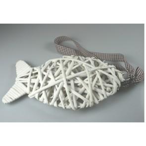 Pendant wicker fish white 25 cm + brown ribbon